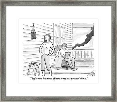 A Man Sits On The Porch Framed Print