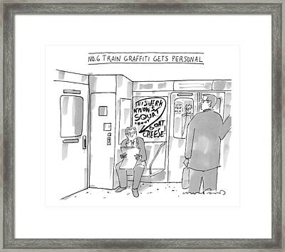 A Man Sits On The Subway Framed Print by Michael Crawford