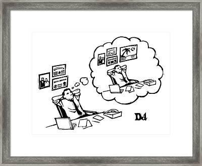 A Man Sitting At A Desk Imagines Himself Sitting Framed Print