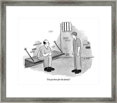 A Man Sitting In A Jail Cell With His Arms Folded Framed Print by Emily Flake
