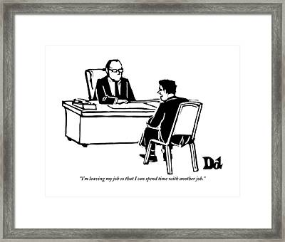 A Man Sitting In Front Of His Boss Is Explaining Framed Print