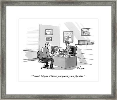 A Man Speaks To A Receptionist Framed Print by Kaamran Hafeez