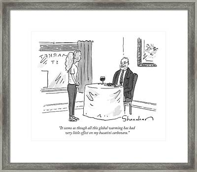 A Man Speaks To A Waitress Framed Print