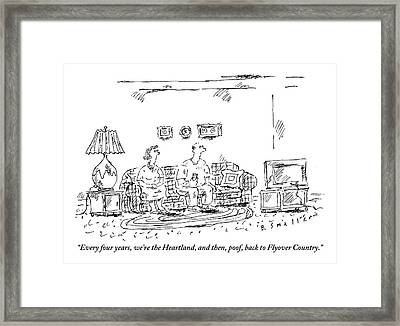 A Man Speaks To A Woman Framed Print