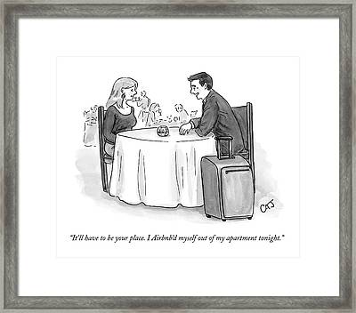 A Man Speaks To A Woman On A Date At A Restaurant Framed Print