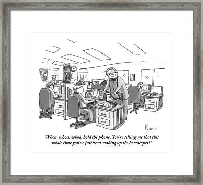 A Man Speaks To A Writer At His Desk Framed Print