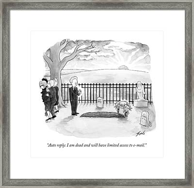 A Man Standing By A Fresh Grave After A Funeral Framed Print