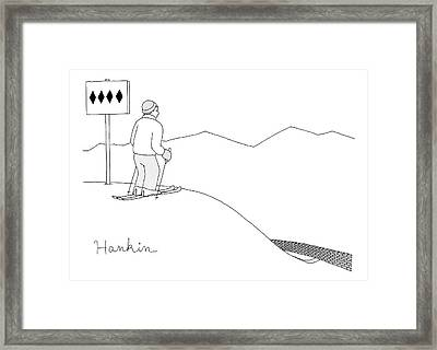 A Man Stands At The Top Of A Ski Slope Framed Print