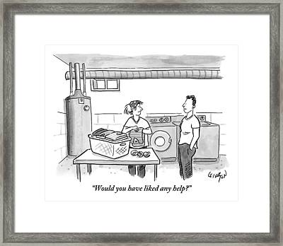 A Man Talks To A Woman Who's Just Done Laundry Framed Print