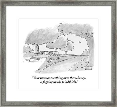 A Man Talks To His Angry Wife While Driving Framed Print
