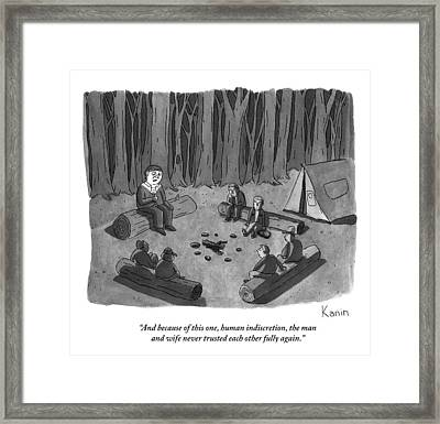 A Man Tells A Scary Story To Campers Framed Print