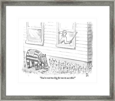 A Man Threatens A Pinata That Is Sitting Framed Print by Paul Noth