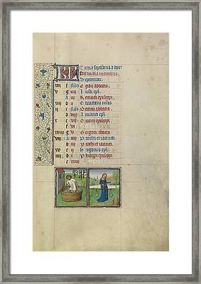 A Man Treading Grapes,  Zodiacal Sign Of Libra Workshop Framed Print by Litz Collection