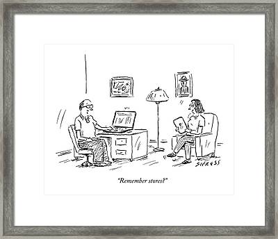 A Man Using A Computer Speaks To A Woman Who Framed Print