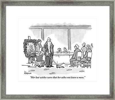 A Man Vacuums At His Mother's Funeral Framed Print