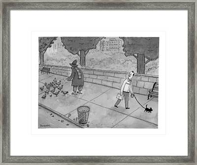 A Man Walking His Dog Sees A Mysterious Figure Framed Print