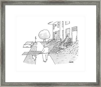 A Man Walks His Dog Past A King Sitting Framed Print