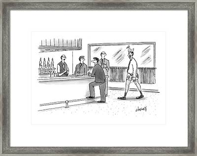 A Man Walks Into A Bar Wearing Boxers With A Duck Framed Print by Tom Cheney