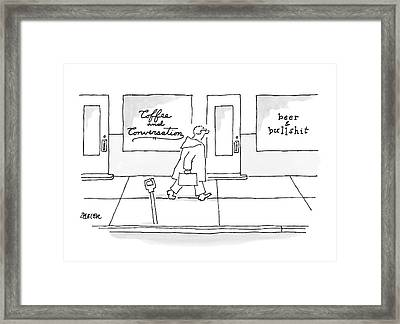 A Man Walks Past Two Shops Framed Print by Jack Ziegler