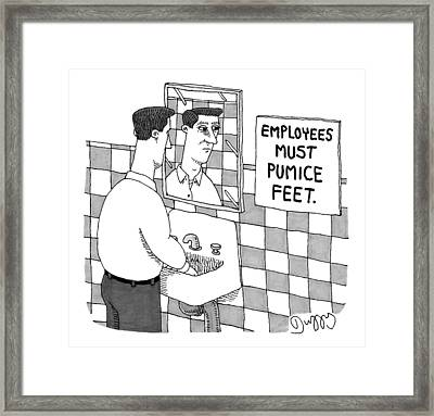 A Man Washes His Hands In A Restroom Framed Print by J.C.  Duffy