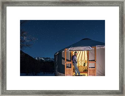 A Man Watching In  A Yurt, Mayday Framed Print