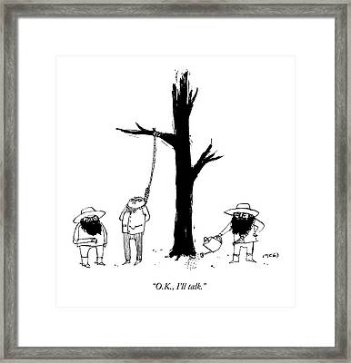 A Man Wearing A Noose Tied To A Tree Speaks Framed Print by Edward Steed