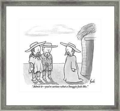 A Man Wearing A Snuggie Speaks To Two Men Wearing Framed Print
