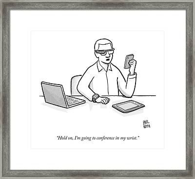 A Man Wearing Google Glasses Framed Print by Paul Noth