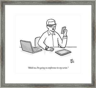 A Man Wearing Google Glasses Framed Print