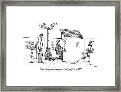 A Man Wearing Overalls Has A Solar Panel Hooked Framed Print by Tom Cheney