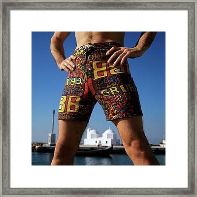 A Man Wearing Robert Bruce Swimming Trunks Framed Print by Leonard Nones