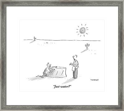 A Man Who Has Been Crawling Through The Desert Framed Print