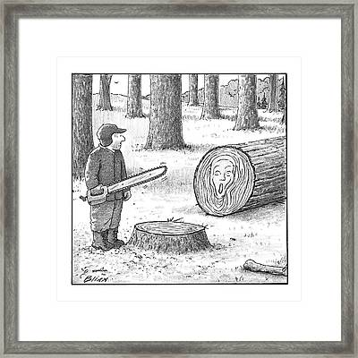 A Man Who Has Just Cut Down A Tree Sees That Framed Print by Harry Bliss