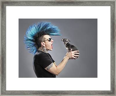 A Man With A Blue Mohawk Yells At His Framed Print by Leah Hammond
