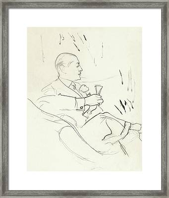 A Man With A Glass Of Wine Framed Print
