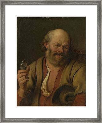 A Man With A Little Drink Bottle, Ary De Vois Framed Print by Litz Collection