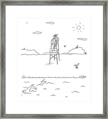A Man With A Notebook Sits In A Lifeguard Chair Framed Print