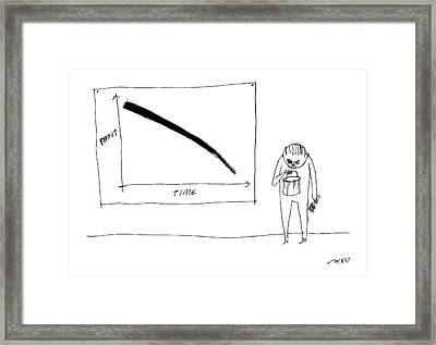 A Man With A Paint Bucket Stands By A Graph Framed Print