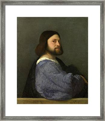 A Man With A Quilted Sleeve Framed Print by Titian
