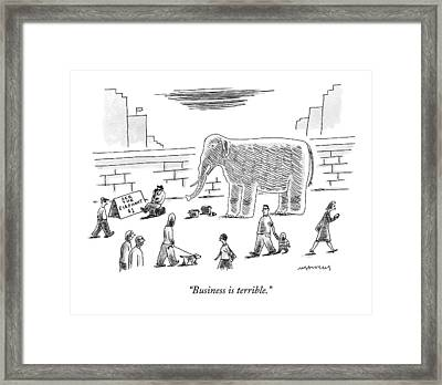 A Man With An Elephant Speaks On The Phone Framed Print