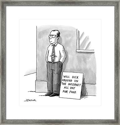 A Man With Glasses And A Tie Is Standing Framed Print