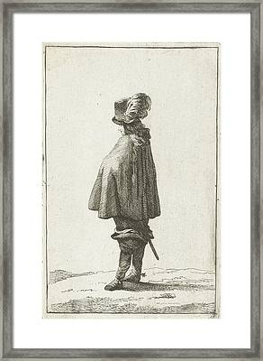 A Man With Hat Seen From The Back, Joannes Bemme Framed Print
