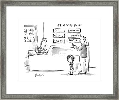 A Man With His Child In An Ice Cream Parlor Framed Print