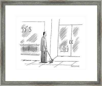 A Man With Small Dog Stops At A Store's Door That Framed Print