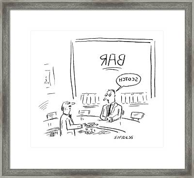 A Manis Speech Bubble With The Word Scotch Framed Print
