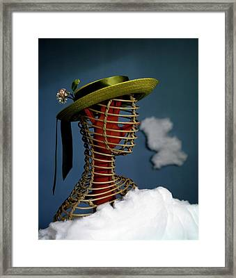 A Mannequin Wearing A Green Sailor Hat Framed Print by Haanel Cassidy