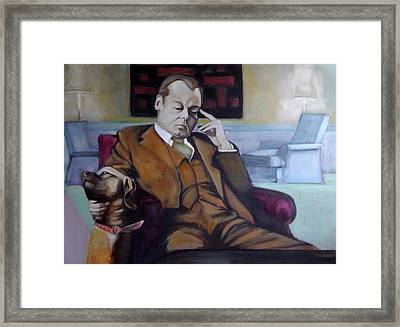 Framed Print featuring the painting A Man's Best Friend by Irena Mohr