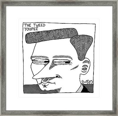 A Man's Head With A Tweed Toupee Framed Print by J.C.  Duffy