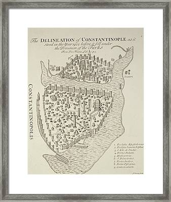 A Map Of Constantinople In 1422 Framed Print by Cristoforo Buondelmonti