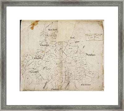 A Map Of 'foxis Cuntry' Framed Print by British Library